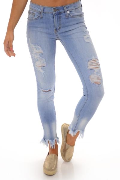 Karlie Frayed Cropped Jean, Light