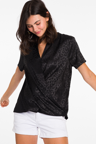 Tonal Leopard Blouse, Black