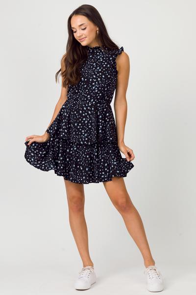 Galactic Layered Dress, Black
