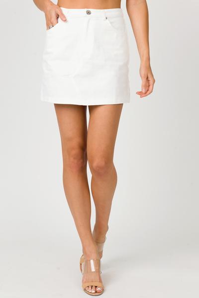Ivory Denim Mini Skirt
