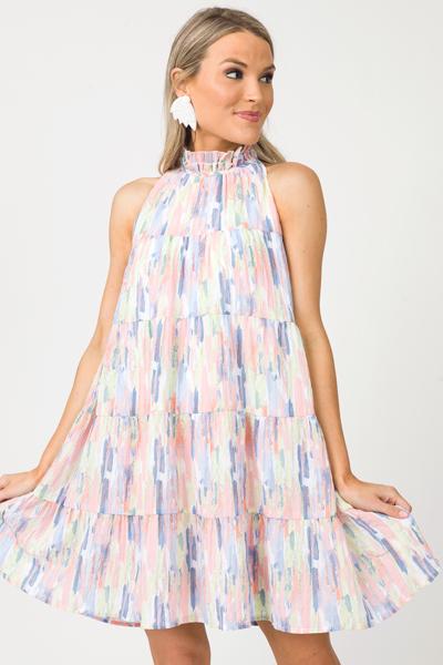 Tiered Strokes Halter Dress, Blue