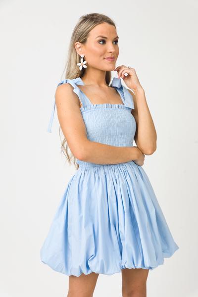 Smock Bubble Dress, Baby Blue