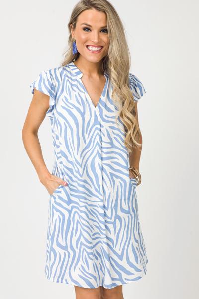 Zebra Pocket Dress, Blue