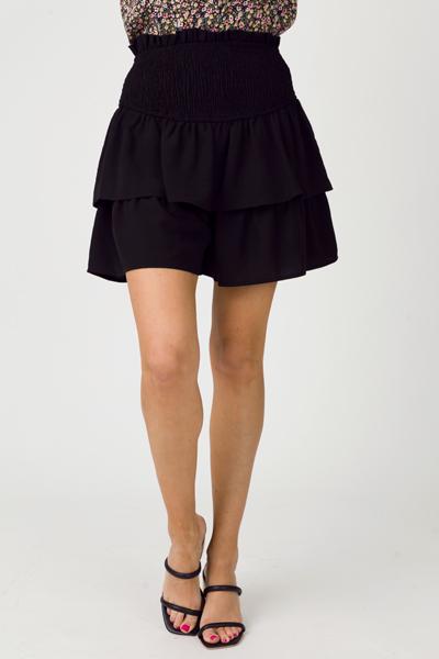 Kelsey Ruffle Smock Short, Black