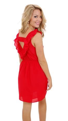 Ruffle My Truffle Dress, Red