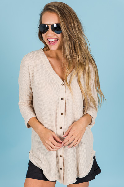 Button Front Thermal, Nude