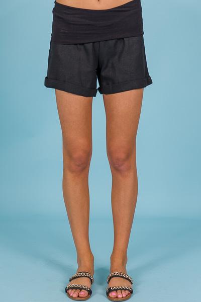 Fold Over Linen Shorts, Black