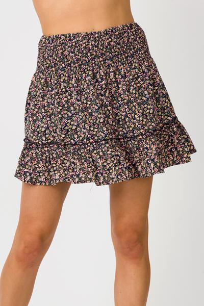 Smock Floral Skirt, Black
