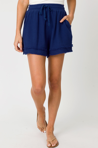 Fray Leg Puffed Shorts, Navy