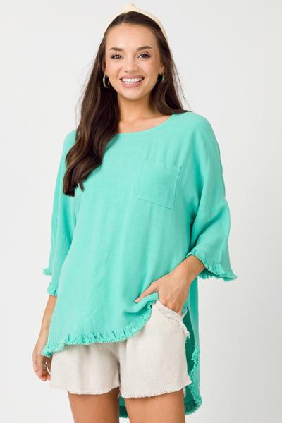 Emerald Frayed Tunic