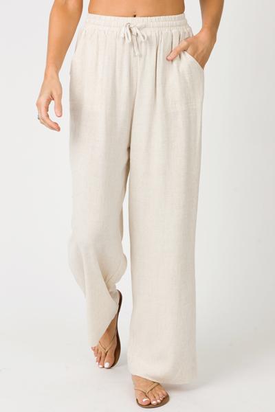 Polly Linen Pants, Oatmeal