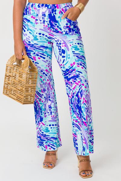 Center Seam Printed Pants, Mint
