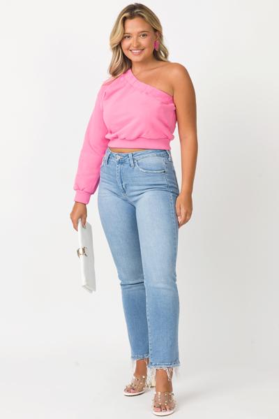 Single Sleeve Sweatshirt, Pink