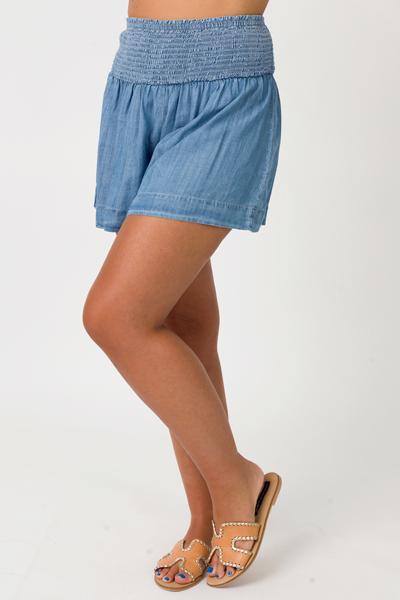 Smock Blue Denim Shorts