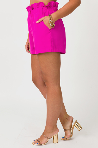 Ruffle Waist Shorts, Magenta