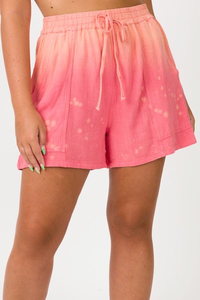 Ombre Bleached Shorts, Coral