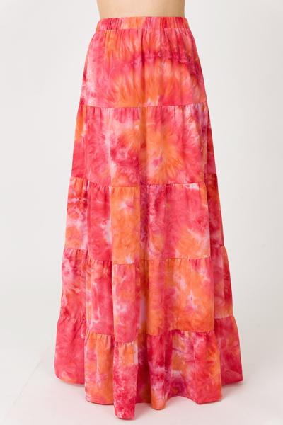 Tie Dye Maxi Skirt, Coral