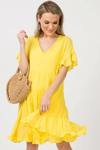 Ruffled V Babydoll Dress, Sunny
