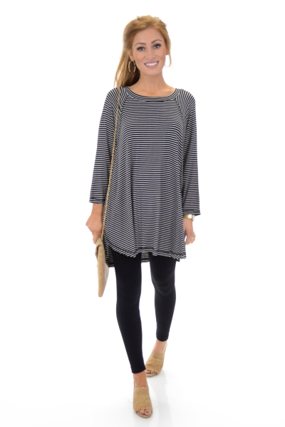 Alex Striped Tunic, Black
