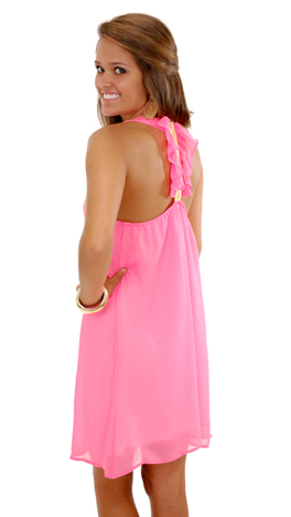 Ruffle Has It Dress, Pink