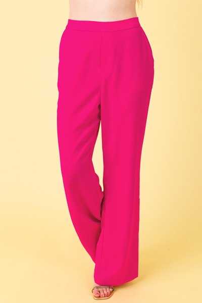 Pull On Trousers, Hot Flamingo
