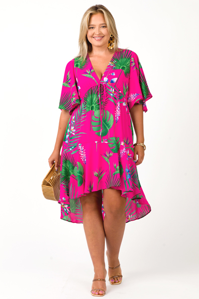 Palms Drawstring Dress, Fuschia