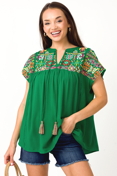 Vibe in Line Top, Kelly Green