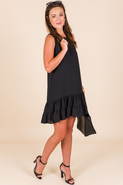 Bottom Ruffle Dress, Black