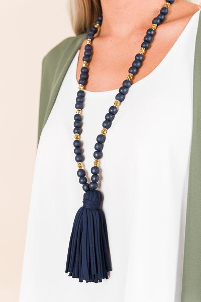 Jersey Tassel Necklace, Navy