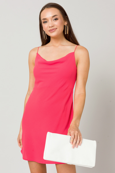 Cowl Slip Dress, Coral