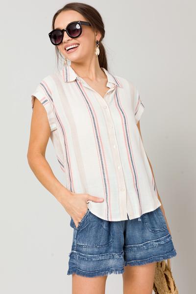 Stripe SS Button Up