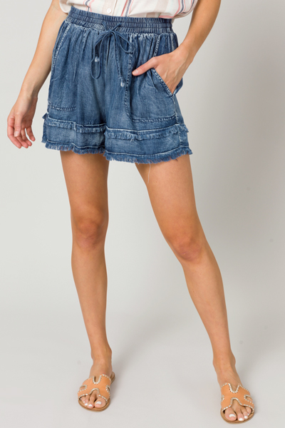 Dark Wash Chambray Fray Shorts