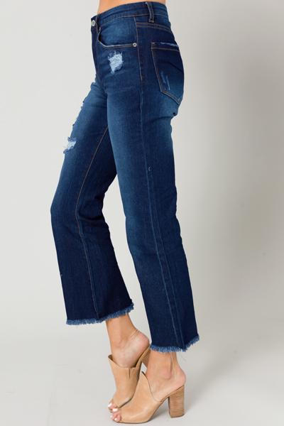 Distress Flare Hem Jeans, Dark