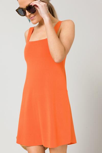 Knit Mini Dress, Orange