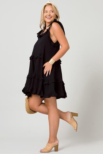 Bow Strap Gauze Dress, Black