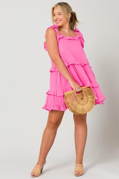 Bow Strap Gauze Dress, Pink