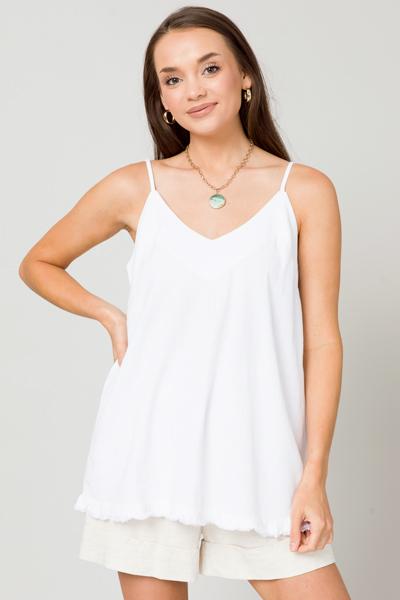 Solid Linen Cami, White
