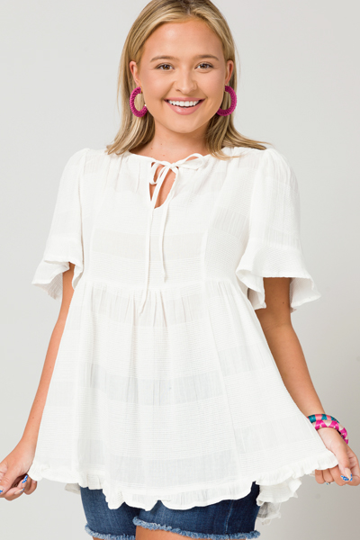 Texture Lines Babydoll Top, White