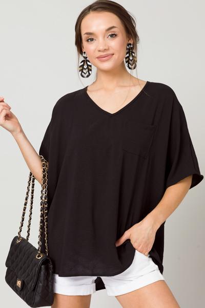 Oversized V-Neck Blouse, Black