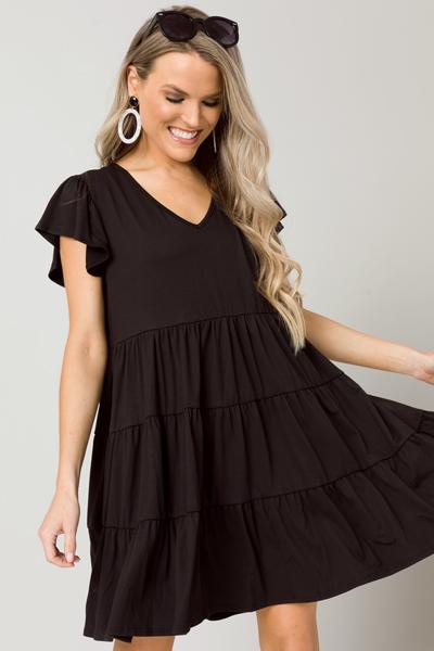 Solid Knit Tiered Dress, Black