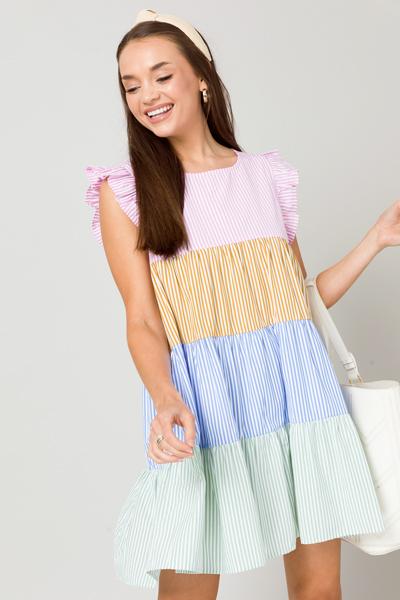 Multi Stripe Tier Dress