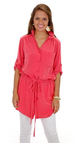 Solid Shirt Dress/Tunic