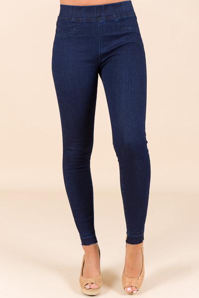 Sarah Denim Legging, Dk Blue