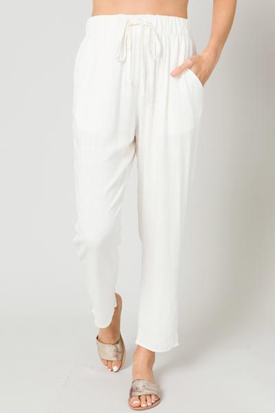 Pull On Linen Pants, Off White