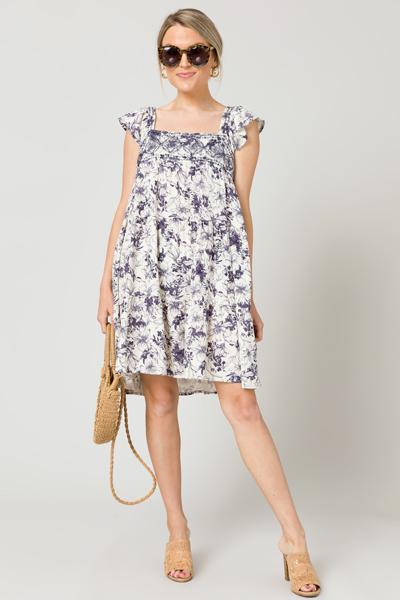 Vintage Floral Linen Dress, Natural