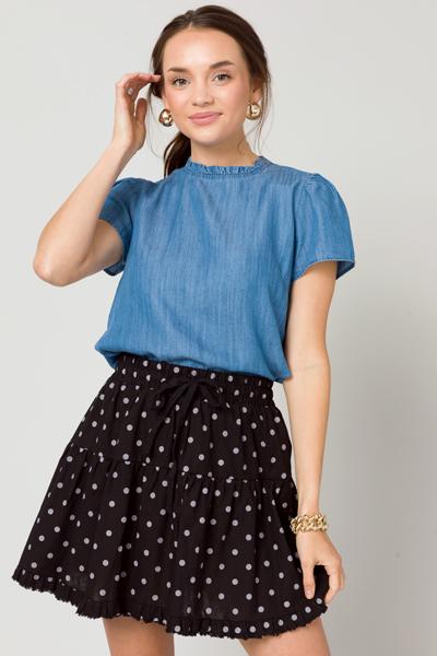 Polka Dot Linen Skirt, Black