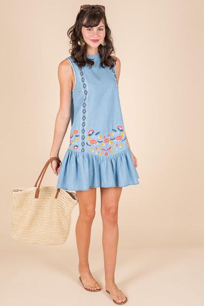 Embroidered Doll Dress, Denim