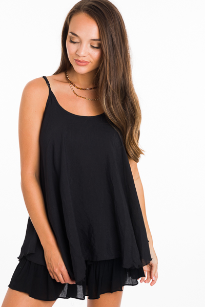 2 Layer Solid Cami, Black
