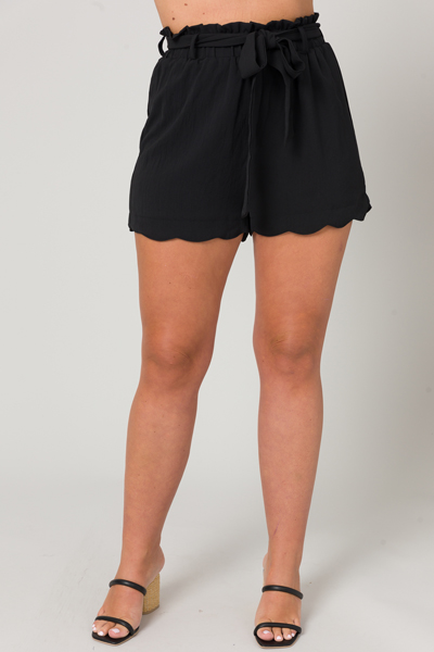Belted Black Scallop Shorts