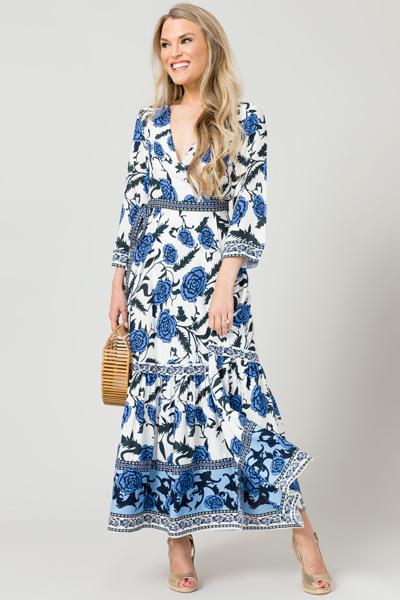 Floral Embrace Wrap Maxi, Blue